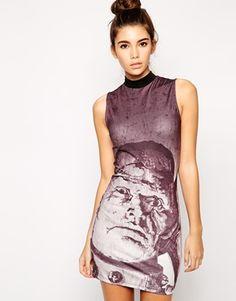 Enlarge ASOS Frankenstein Halloween Body-Conscious Dress with High Neck in Scuba