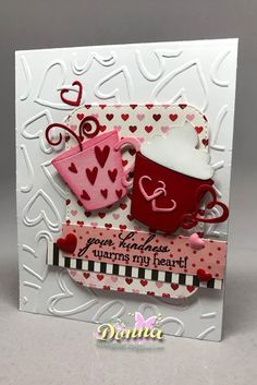 Donna's card using Cup of Love and stitched rounded rectangle dies