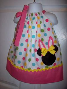 Minnie Mouse Easter Bunny Pillowcase Dress Easter Dress on Etsy, $28.00
