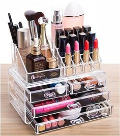 Cq acrylic 4 Drawers and 16 Grid Makeup Organizer with Cosmetic Storage Cases, The Top of the Almighty as a Display Make-up Brush and Lipstick Holder,Clear 2 Piece Set