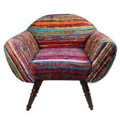 Rajwaada Chair from Melange Home - handcrafted of repurposed vintage silk fabrics - each piece is one-of-a-kind  - love it!!!