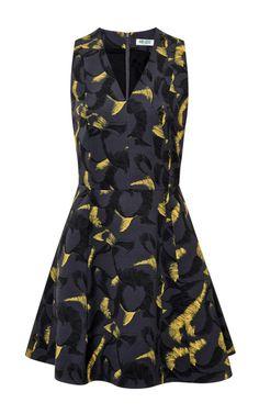 Shop Printed Silk-Twill V-Neck Dress by Kenzo Now Available on Moda Operandi