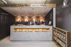 playful text / bold statement like this for GBR maybe? Cold Press Juice Bar by Jump Studios