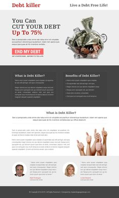 killer-debt-relief-landing-page-033 | Debt landing page design preview.
