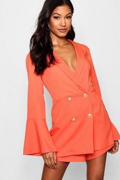 c17c9a669db Melissa Tailored Flare Sleeve Playsuit - boohoo