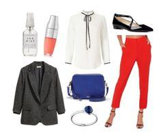 Red pants, black blazer, white bow blouse, cobalt blue bag, black shoes, blue ring, peach lip, wavy hair