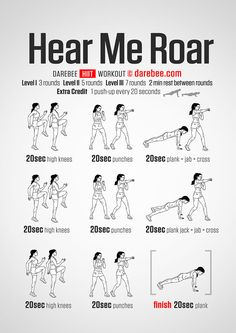 Hear Me Roar Workout - Concentration - Full Body - Difficulty 4 - Not Suitable for Beginners