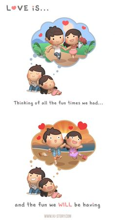cute love cartoons Love is Thinking of Good Time - HJ-Story Cartoon Love Quotes, Love Cartoon Couple, Cute Couple Comics, Comics Love, Cute Love Cartoons, Cute Cartoon, Cute Love Pictures, Cute Love Gif, Cute Love Quotes