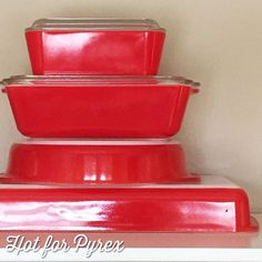 Day 87 of 100 - A stack of red! From bottom: 232, 221, 503, & 502. The top two pieces are from the all red fridge dish set which is made up of two 502s and a 503. #pyrexpassion #pyrex #pyrex100 #100hfp #pyrexporn #pyrexlove #love #pyrexporn #pyrexia