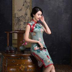 2017 High Hem Silk Cheongsam Short Sleeve Qipao Printing Spring Summer Cheongsam