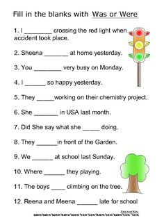 Helping verb worksheets for Was,Were