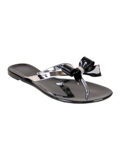 75cea906a20d0b Black   Silver Bow Jelly Sandal