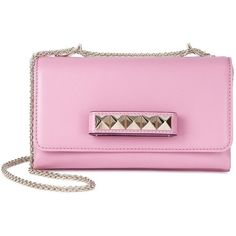 Womens Clutches Valentino Rockstud Va Va Voom Pink Leather Clutch ($1,965) ❤ liked on Polyvore featuring bags, handbags, clutches, pink, pink handbags, genuine leather handbags, studded leather purse, genuine leather purse and pink studded handbag