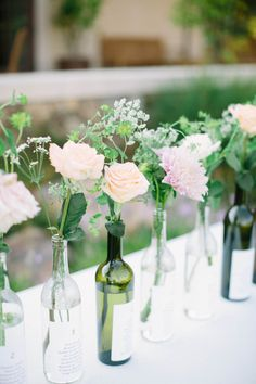 Wine bottle vases: http://www.stylemepretty.com/2016/11/04/outdoor-sonoma-county-sophisticated-film-winery-wedding/ Photography: This Love of Yours - http://thisloveofyours.com/