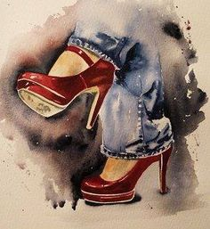 Red shoes watercolor painting by Sharon Whitley. Reference photo by Freda Austin Nichols of Paint my Photo Illustration Mode, Illustrations, Arte Fashion, Shoe Art, Painted Shoes, Red Shoes, Painting & Drawing, Watercolor Paintings, Watercolors