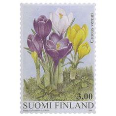 Postimerkki: Krookus | Suomen postimerkit Finland, Stamps, Flowers, Seals, Postage Stamps, Stamp