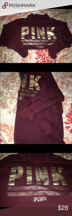 VS PINK Pull-Over Zip Maroon x Gold, Front Pockets x mid-zip Tops Sweatshirts & Hoodies