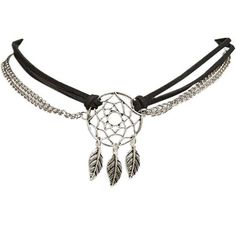 Dreamcatcher Chain & Faux Suede Choker featuring polyvore, fashion, jewelry, necklaces, accessories, bijoux, black, black pendant, leaf pendant necklace, black pendant necklace, black choker necklace and charm necklace
