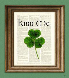 KISS ME I'm Irish Green Shamrock St. Patrick's Day clover botanical illustration beautifully upcycled dictionary page book art print