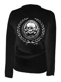 "Women's ""Death Or Glory"" Cardigan by Pinky Star (Black) #Inkedshop #death #glory #cardigan #skull #sweater"