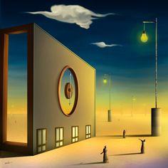 Marcel Caram , Six hours (6 o'clock), Light bulbs on poles