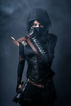 Name: Scar Gender: Female Age: 19 Description: black hair with one bright blue eye and the other one a dark brown colour wears typical assassin type clothes with a crossbow