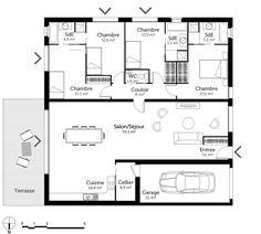 Plan Maison 100m2 3 Chambres House Plans Pinterest House Plans