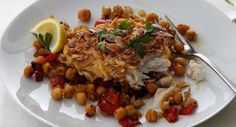 Yeah-minus the chick peas-- (bleah). Sounds like almond crusted haddock from Kittery