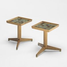 Edward Wormley Janus occasional tables Use fused glass rounds