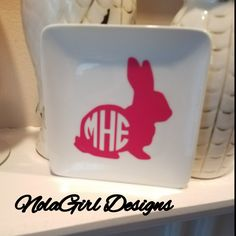 Ring Dish.   #Easter #ringdish #Teachergift #rabbit #girls #jewelry #ring #dish #etsy #shopsmall #ladies #southern #blessed #preppy #gift #shoping #eastergift #Bunny #monogram