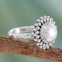Shop for Handmade Cultured Pearl 'Kolkata Halo' Sterling Silver Cocktail Ring (India). Get free delivery On EVERYTHING* Overstock - Your Online Jewelry Destination! Silver Pearl Ring, Silver Pearls, Pearl Jewelry, Sterling Silver Jewelry, Jewelry Gifts, Jewelry Accessories, Acrylic Charms, Cultured Pearls, Cocktail Rings