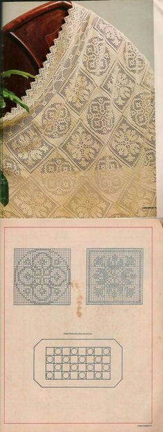 My selection of schemes of knitting of patterns and motives a hook Crochet Tablecloth Pattern, Crochet Bedspread, Crochet Curtains, Crochet Quilt, Crochet Cross, Crochet Squares, Crochet Home, Crochet Motif, Crochet Doilies