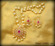 CZ Pearl Chain Pendant set Price : 1300/- Inr FREE SHipping in India COD Charges 100/- Inr For order : +91-9030271018 : Whatsapp 31 August 2016