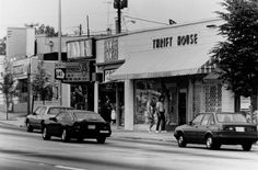 Shops on Peachtree Road near its intersection with Roswell Road, May 18, 1988. AJC file.