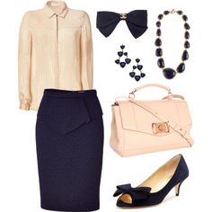 Poise & elegance #chanel #navy #blue #white #inspiration #office #outfit