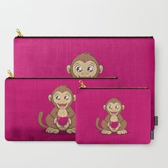 """""""Monkey Love"""" Carry-All Pouches by Savousepate on Society6 #pouch #purse #clutch #bag #cute #kawaii #ape #heart #valentinesday #fushia #pink #brown"""