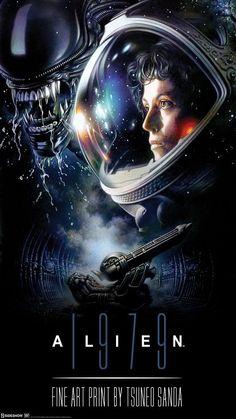Alien 1979 Fine Art Print by Tsuneo Sanda Alien Movie Poster, Best Movie Posters, Aliens Movie, Alien Vs Predator, Alien 1979, Science Fiction Kunst, Conquest Of Paradise, Les Aliens, Space Movies