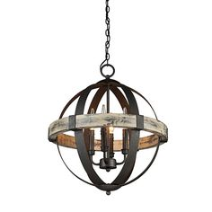 Castello Black and Aspen Wood Four-Light 20-Inch Wide Chandelier