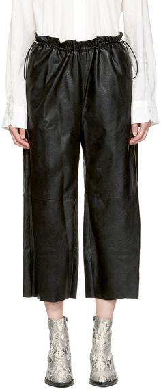 MM6 Maison Martin Margiela - Black Faux-Leather Drawstring Trousers