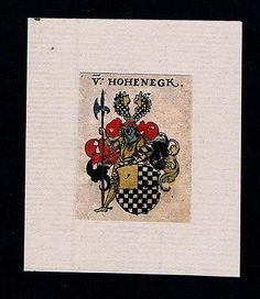 17.Jh. - von Hohenegk Hoheneck Wappen coat of arms heraldry Heraldik Kupferstich