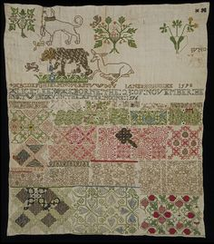 Jane Bostocke | sampler | linen | silk + metal thread | stitches include: cross + back + satin + chain + ladder + buttonhole + detached buttonhole filling + couching + coral + speckling + two-side Italian cross + bullion + French knot + beadwork | England, Britain | 1598 | the earliest dated extant British sampler