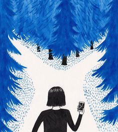 Am I lost? #brokenphone #illustration #editorialillustration #painting #art #drawing #forest #trees #pine #nature #technology #smartphone #lost #crossroads #decisions