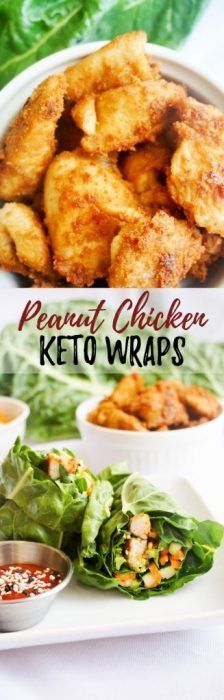 Peanut Chicken Lettuce Wraps are made with pickled veggies and peanut butter marinated chicken, great for on the go - or they can be part of a meal too! A yummy keto and low carb recipe idea.