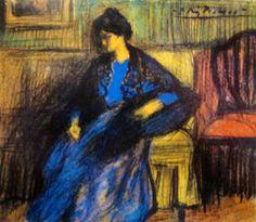 Pablo PICASSO/, oil painting Mujer con manton, sentada (1899-1900)