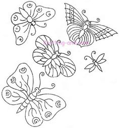 free hand stitching patterns | Free Embroidery Pattern: More Butterflies and Dragonflies c1920