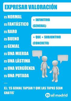 """(NIVEL B1) Cuando queremos valorar un hecho, es común utilizar estructuras con el verbo """"ser"""" con adjetivos y nombres, y seguidas por un infinitivo o por el subjuntivo... #subjuntivo #valoración — at AIL Madrid Courses - Learn Spanish in Spain"""