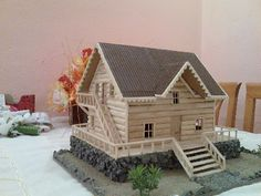 Popsicle Stick Houses, Popsicle Stick Crafts, Craft Stick Crafts, Diy And Crafts, Miniature Furniture, Dollhouse Furniture, Diy Bird Toys, Wooden Bird Houses, Toy Barn