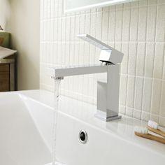 The Otis basin mixer tap features clean, geometric lines