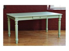 The Farm Dining Table with Drawer is a typical cottage-styled piece. The classic turned legs add a distinct look to your kitchen. Finished in the USA.