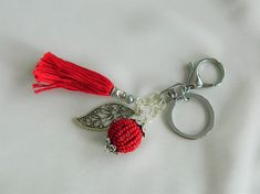 Key Chain Bag Charm - Red and silver with paisly leaf large charm, and beaded large red charm with tassel